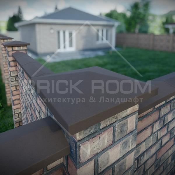 Крышка-колпак на заборный столб бетонная четырёхскатная тёмно-коричневый